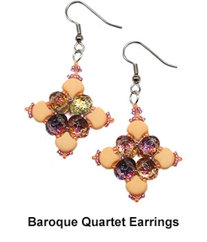 BeadSmith Digital Download Patterns - Baroque Quartet Earrings