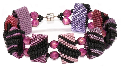 Red Panda Beads Originals Patterns - Deep Pink Monday CarrierDuo Bracelet