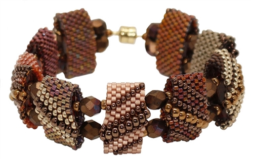 Red Panda Beads Originals Patterns - Marsala Monday CarrierDuo Bracelet