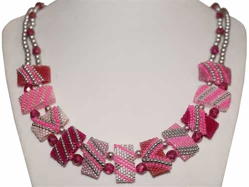 Red Panda Beads Originals Patterns - Pink Lavender CarrierDuo Necklace