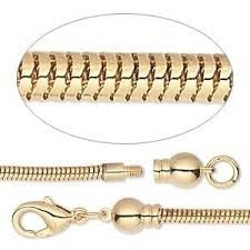 Dione Easy-On Chain - Gold-Plated Brass - 2.6mm Snake - 20 inches long - Sold Individually