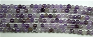 4mm Round Dog Teeth Amethyst - 8 in strand