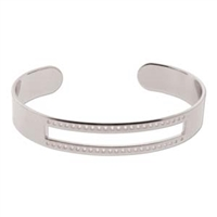 EC003SP - Silver Plated Centerline Cuff - 5.5 inch DiameterRaw Brass Bracelet Bangle - 3/4 Inch - ID 66.5mm