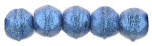 Czech English Cut Round 3mm : Metallic Suede - Blue - 25 pieces