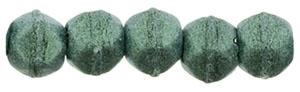 Czech English Cut Round 3mm : Metallic Suede - Lt. Green - 25 pieces