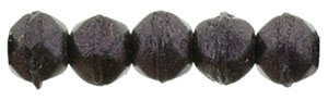 Czech English Cut Round 3mm : Metallic Suede - Dark Plum - 25 pieces