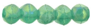 Czech English Cut Round 3mm : Luster Iris - Atlantis Green - 25 pieces