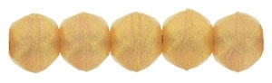 Czech English Cut Round 3mm : Sueded Gold Milky Pink - 25 pieces