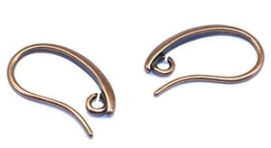 EW1911AC- Antique Copper 19mm Earwires with Open Ring - 1 Pair