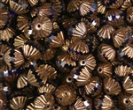 Fluted Firepolish 9mm : FFP9-B3009 - bronze - Cobalt - 2 Beads