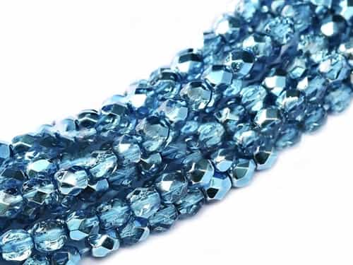 Firepolish 4mm: FP4-00030-67675 - Crystal Aqua Metallic Ice - 25 pieces