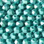 Firepolish 4mm : FP4-25043 - Alabaster Pastel Emerald - 25 Count