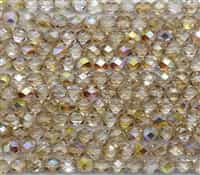 Firepolish 6mm: FP6-00030-98531 - Crystal Yellow Rainbow - 25 Bead Strand