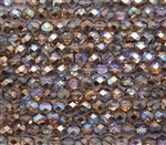 Firepolish 6mm: FP6-00030-98533 - Crystal Copper Rainbow - 25 Bead Strand