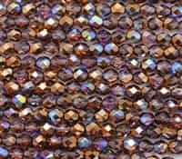 Firepolish 6mm: FP6-00030-98533 - Light Amethyst Copper Rainbow - 25 Bead Strand