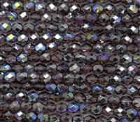 Firepolish 6mm: FP6-00030-98537 - Light Amethyst Graphite Rainbow - 25 Bead Strand
