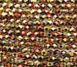 Firepolish 6mm: FP6-23980-98542 - Jet California Gold Rush - 25 Bead Strand