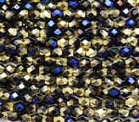 Firepolish 6mm: FP6-23980-98548 - Jet California Blue - 25 Bead Strand