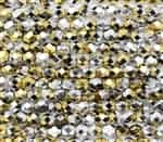 Firepolish 6mm: FP6-23980-98550 - Jet California Silver- 25 Bead Strand
