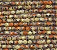 Firepolish 6mm: FP6-23980-98842 - Matte Jet California Gold Rush - 25 Bead Strand