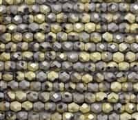 Firepolish 6mm: FP6-23980-98847 - Matte Jet California Graphite - 25 Bead Strand