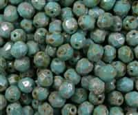 Firepolish 6mm : FP6-T6313 - Opaque Turquoise - Picasso - 25 pieces