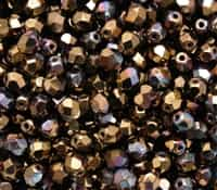 Firepolish 6mm: FP6-Y2398 - Jet - Bronze Vega - 25 Pieces