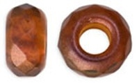 Czech FirePolish Large Hole Rondelle 9/14mm: FPLHR-79233 - Color Trends - Patina - 1 piece