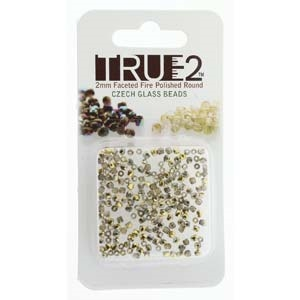 FPR0200030-26441-R - Fire Polish True 2mm Beads -  Crystal Amber - Approx 2 Grams - 200 Beads Factory Pack