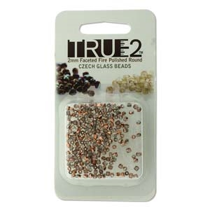 FPR0200030-27101-R - Fire Polish True 2mm Beads -  Crystal Capri Gold - Approx 2 Grams - 200 Beads Factory Pack