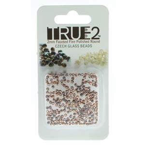 FPR0200030-27183-R - Fire Polish True 2mm Beads -  Etched Full Capri - Approx 2 Grams - 200 Beads Factory Pack