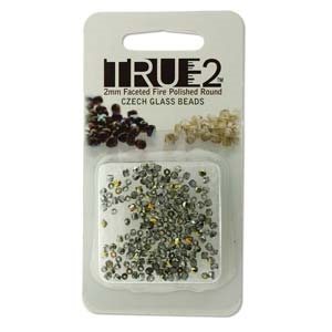 FPR0200030-28001-R - Fire Polish True 2mm Beads -  Crystal Marea - Approx 2 Grams - 200 Beads Factory Pack