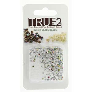 FPR0200030-28101-R - Fire Polish True 2mm Beads -  Crystal Vitrail - Approx 2 Grams - 200 Beads Factory Pack