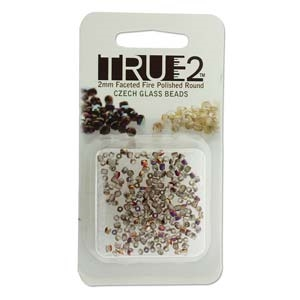 FPR0200030-29500-R - Fire Polish True 2mm Beads -  Crystal Sliperit - Approx 2 Grams - 200 Beads Factory Pack