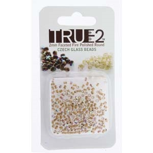 FPR0200030-68506-R - Fire Polish True 2mm Beads -  Crystal AB Bronze Lined - Approx 2 Grams - 200 Beads Factory Pack
