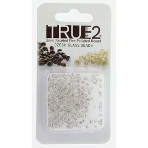 FPR0200030-81800-R - Fire Polish True 2mm Beads -  Crystal Silver Lined - Approx 2 Grams - 200 Beads Factory Pack