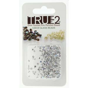 FPR0200030-98530-R - Fire Polish True 2mm Beads -  Crystal Silver Rainbow - Approx 2 Grams - 200 Beads Factory Pack