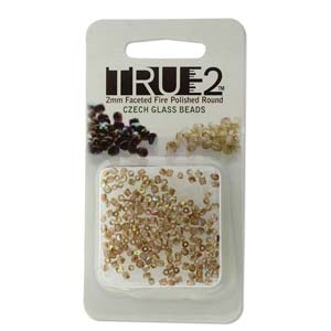 FPR0200030-98532-R - Fire Polish True 2mm Beads -  Crystal Brown Rainbow - Approx 2 Grams - 200 Beads Factory Pack