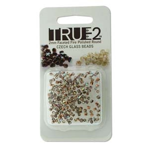 FPR0200030-98533-R - Fire Polish True 2mm Beads -  Crystal Copper Rainbow - Approx 2 Grams - 200 Beads Factory Pack