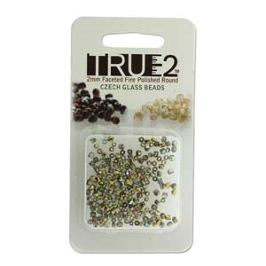 FPR0200030-98536-R - Fire Polish True 2mm Beads -  Crystal Gold Rainbow - Approx 2 Grams - 200 Beads Factory Pack