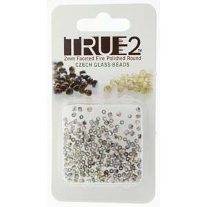 FPR0200030-98537-R - Fire Polish True 2mm Beads -  Crystal Graphite Rainbow - Approx 2 Grams - 200 Beads Factory Pack