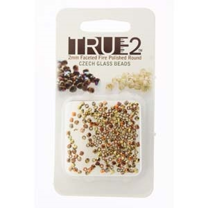 FPR0200030-98542-R - Fire Polish True 2mm Beads -  Crystal California Gold Rush - Approx 2 Grams - 200 Beads Factory Pack
