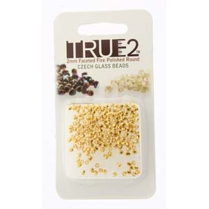 FPR0200030-GP-R - Fire Polish True 2mm Beads -  Crystal 24K Gold Plated - Approx 2 Grams - 200 Beads Factory Pack