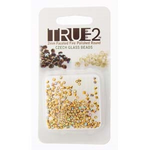 FPR0200030-GPAB-R - Fire Polish True 2mm Beads -  Crystal 24K Gold Plated AB - Approx 2 Grams - 200 Beads Factory Pack