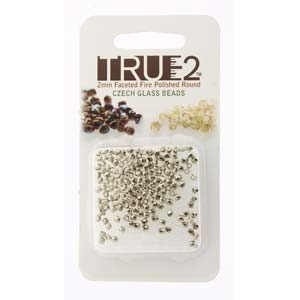 FPR0200030-NI-R - Fire Polish True 2mm Beads -  Crystal Nickel Plated - Approx 2 Grams - 200 Beads Factory Pack
