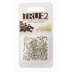 FPR0200030-NIAB-R - Fire Polish True 2mm Beads -  Crystal Nickel Plated AB - Approx 2 Grams - 200 Beads Factory Pack
