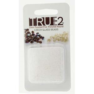 FPR0200030-R - Fire Polish True 2mm Beads -  Crystal - Approx 2 Grams - 200 Beads Factory Pack