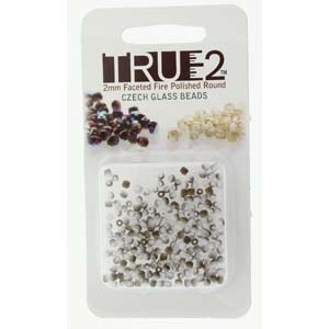 FPR0203000-22671-R - Fire Polish True 2mm Beads -  Chalk White Valentine Matte - Approx 2 Grams - 200 Beads Factory Pack