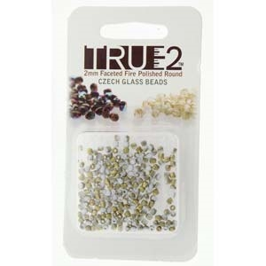 FPR0203000-26471-R - Fire Polish True 2mm Beads -  Chalk White Amber Matte - Approx 2 Grams - 200 Beads Factory Pack