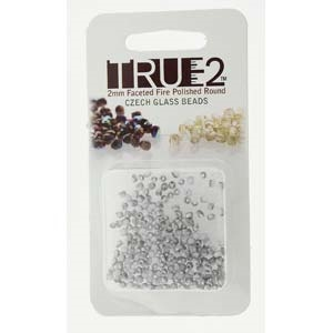 FPR0203000-27071-R - Fire Polish True 2mm Beads -  Chalk White Labrador Matte - Approx 2 Grams - 200 Beads Factory Pack